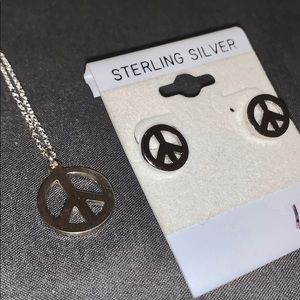 Jewelry - Peace sign necklace and earrings sterling silver
